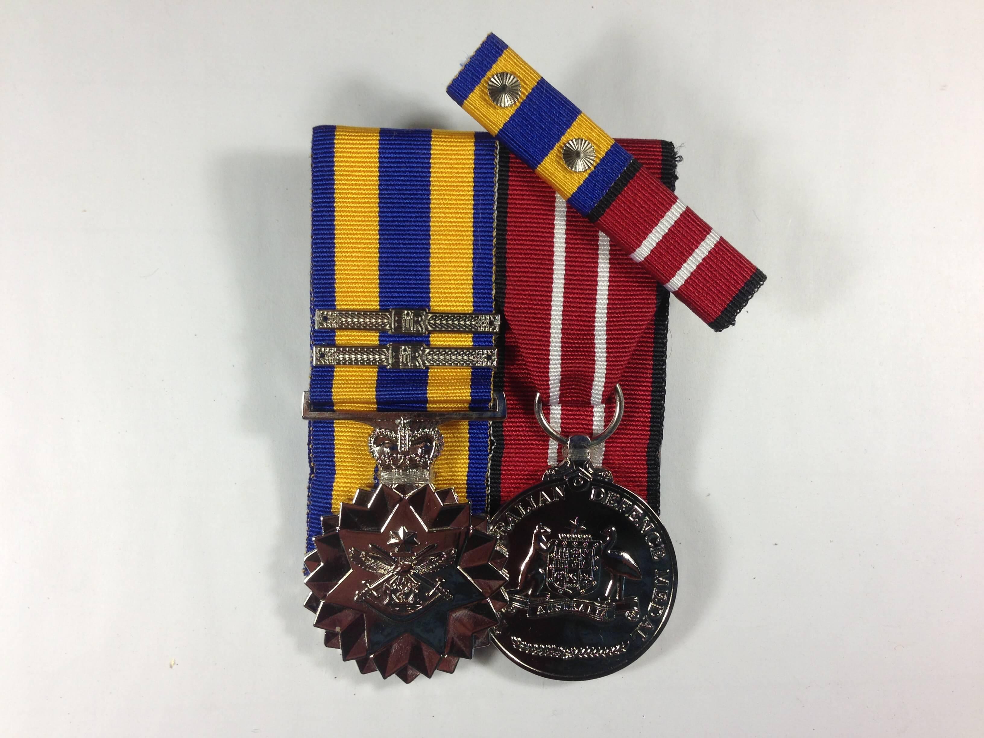 Defence Force Service Medal + 2 clasps Australian Defence Medal + Ribbon Bar